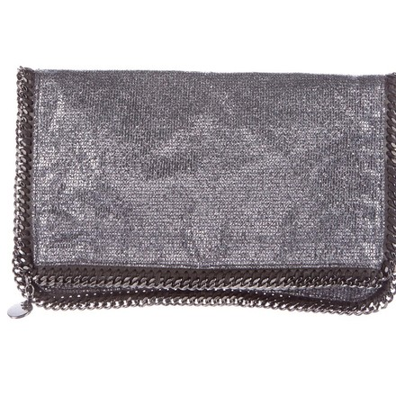 replica Stella McCartney Grey/Black Metallic Chain and Beaded Detail Foldover Clutch