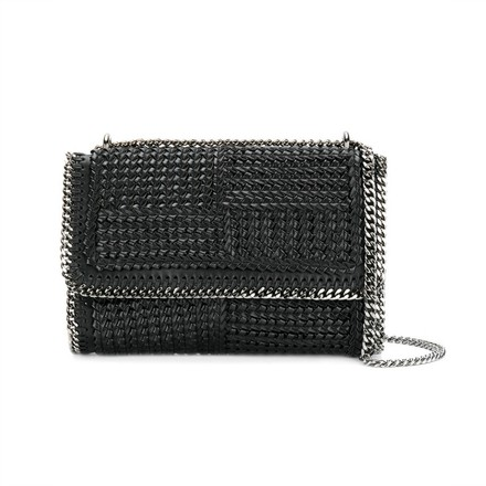 replica Stella McCartney Black Vegan Leather Woven Falabella Shoulder Bag