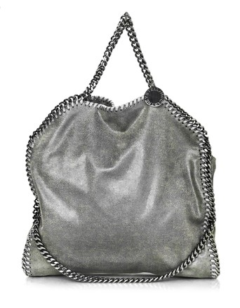 replica Stella McCartney Grey Vegan Leather Falabella Chamois Small Tote